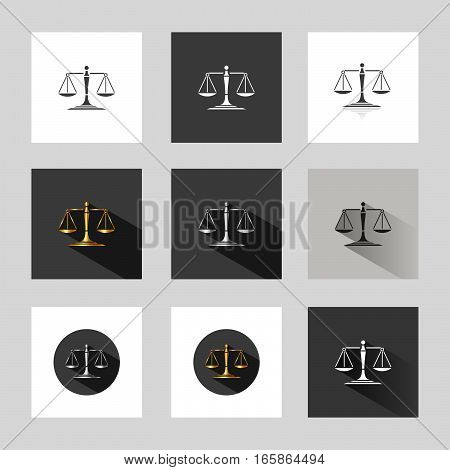 Scales of justice in different versions on grey background