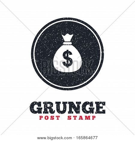 Grunge post stamp. Circle banner or label. Money bag sign icon. Dollar USD currency symbol. Dirty textured web button. Vector