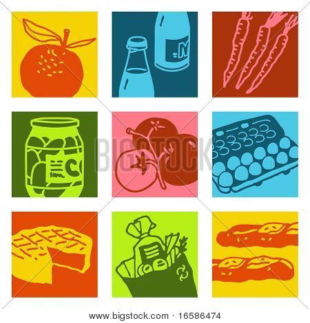 pop-art objects - food and market