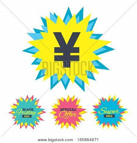 Sale stickers and banners. Yen sign icon. JPY currency symbol. Money label. Star labels. Vector