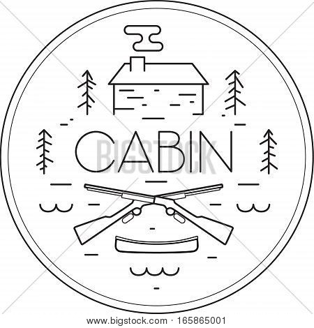 Vector illustration of a hunting cabin in the woods. Badge icon of cabin, pine trees, guns and a canoe. Lake home.