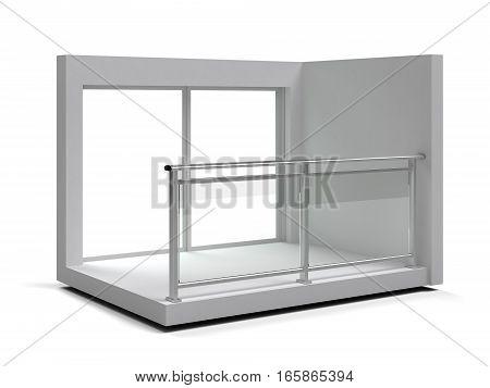 Aluminum frameless glass balustrade and handrail. 3d illustration