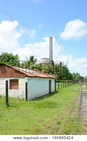 REMEDIOS CUBA - JULY 27 2016: Buildings at the Museum of Sugar Industry and Museum of Steam at Remedios is an old Cuban sugar mill with its own railway.