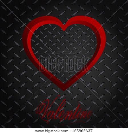 Red Valentine Heart Frame Over Metallic Diamond Plate Background and Text