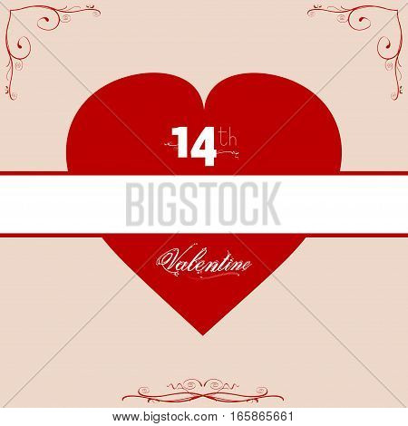 Red Valentine Heart Copy Space With Date and Text Over Floral Frame
