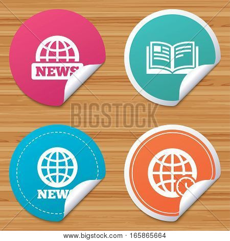 Round stickers or website banners. News icons. World globe symbols. Open book sign. Education literature. Circle badges with bended corner. Vector