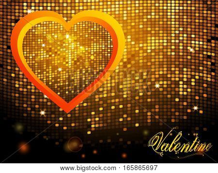 Red Yellow Heart Shaped Frame with Sparkling Mosaic Over Disco Wall Background with Text