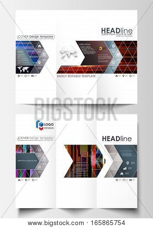 Tri-fold brochure business templates on both sides. Easy editable abstract layout in flat design, vector illustration. Glitched background made of colorful pixel mosaic. Digital decay, signal error, television fail. Trendy glitch backdrop.