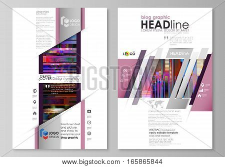 Blog graphic business templates. Page website design template, abstract vector layout. Glitched background made of colorful pixel mosaic. Digital decay, signal error, television fail. Trendy glitch backdrop.