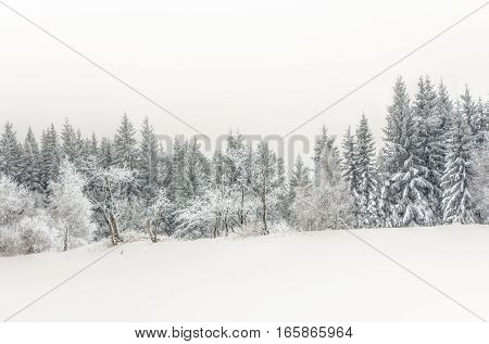 Landscape Of Snowy Mountains In The Highlands