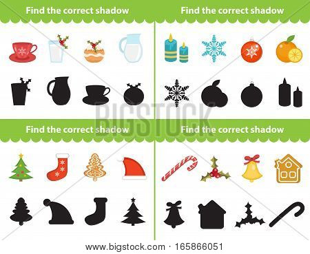 Childrens educational game with holiday elements, find correct shadow silhouette. Items for find the right shadow. Vector illustration