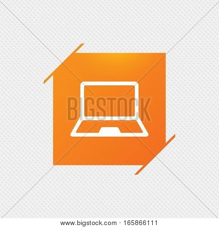 Laptop sign icon. Notebook pc symbol. Orange square label on pattern. Vector