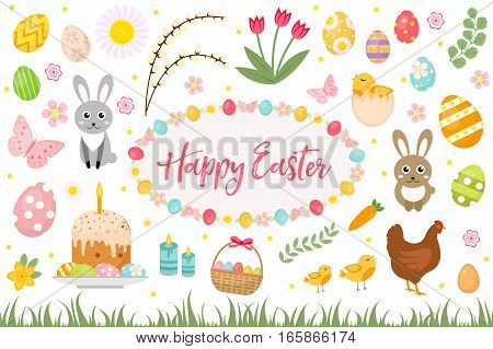 Happy Easter collection object, design element. Easter spring set with cake, basket, eggs, bunny, flowers, nestlings and more. Vector illustration, clip art