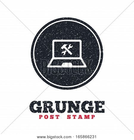Grunge post stamp. Circle banner or label. Laptop repair sign icon. Notebook fix service symbol. Dirty textured web button. Vector