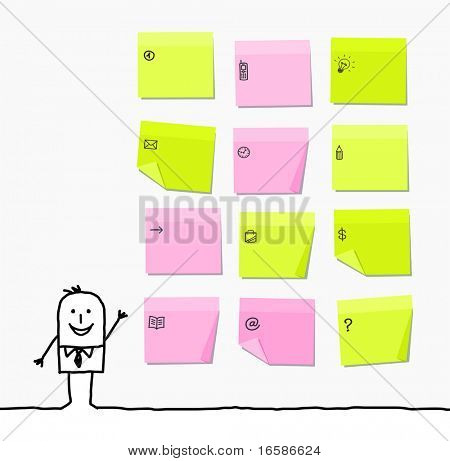 man & sticky notes poster