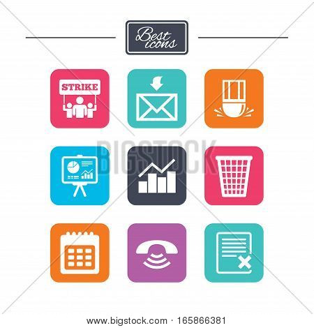 Office, documents and business icons. Call, strike and calendar signs. Mail, presentation and charts symbols. Colorful flat square buttons with icons. Vector