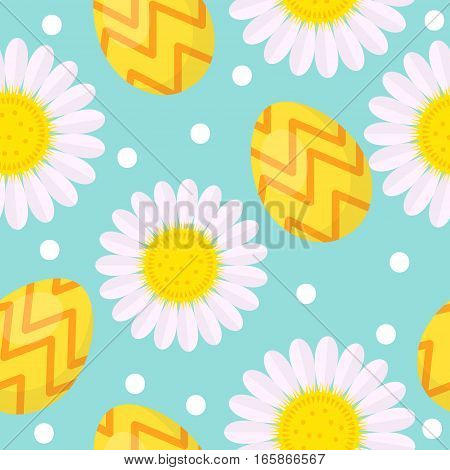 Cute Easter seamless pattern with eggs and camomile, endless backdrop. Holiday background, texture, digital paper. Vector illustration