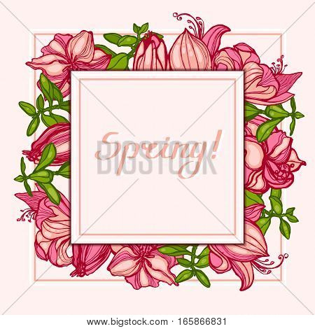 Spring! Postcard with flowers Amaryllis, Hippeastrum and succulents Crassula. Square composition. Invitation, congratulation card. Lettering. Template for your design. Hand drawn. Vector illustration.