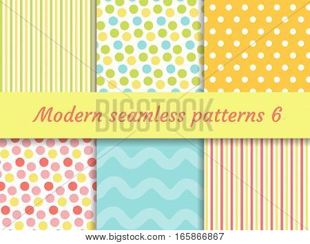 Polka dot, strips wave seamless pattern set. Digital Paper collection, modern style. Scrapbooking Kit. Vector illustration