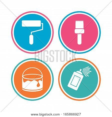 Painting roller, brush icons. Spray can and Bucket of paint signs. Wall repair tool and painting symbol. Colored circle buttons. Vector