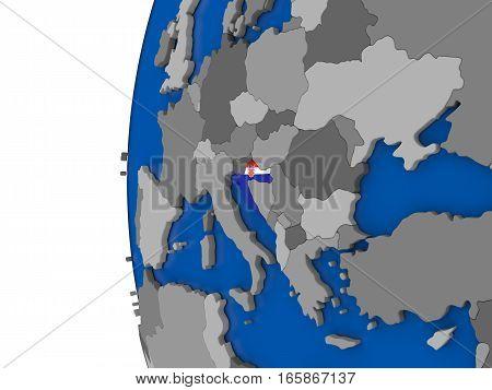 Croatia On Globe