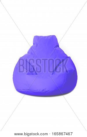 Front view of nice new and soft blue beanbag isolated on white background