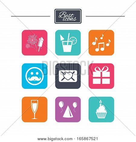 Party celebration, birthday icons. Musical notes, air balloon and champagne glass signs. Gift box, fireworks and cocktail symbols. Colorful flat square buttons with icons. Vector