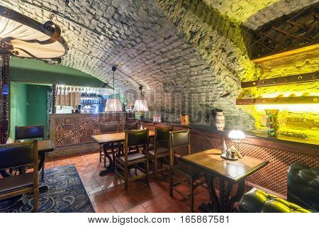 MOSCOW - AUGUST 2014: Interior of a luxury restaurant