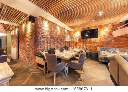 MOSCOW - AUGUST 2014: Interior elegant city restaurant
