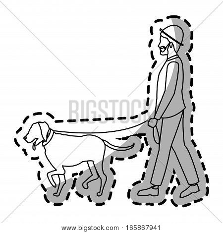 man walking with a dog cartoon icon over white background. vector illustration