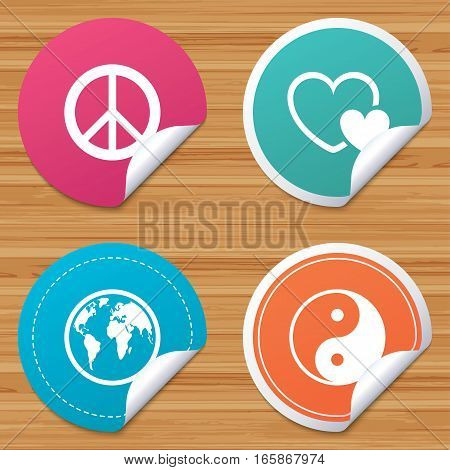 Round stickers or website banners. World globe icon. Ying yang sign. Hearts love sign. Peace hope. Harmony and balance symbol. Circle badges with bended corner. Vector