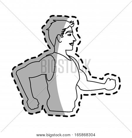 young man cartoon icon over white background. vector illustration