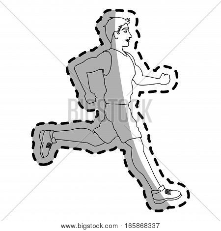 man running cartoon icon over white background. vector illustration