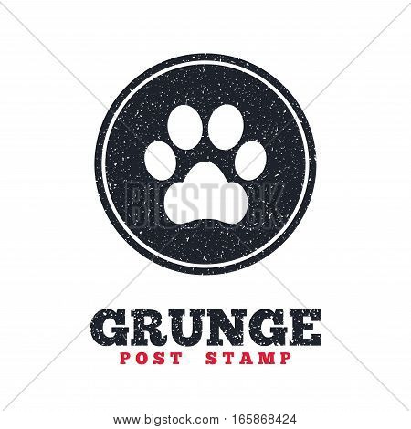 Grunge post stamp. Circle banner or label. Dog paw sign icon. Pets symbol. Dirty textured web button. Vector