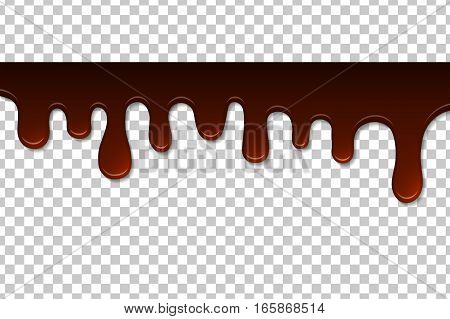 Melted chocolate isolated. Decoration background. Vector illustration