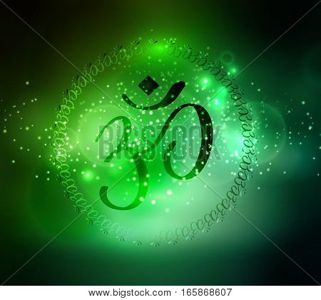 om sign and symbol on abstract space background for yoga vector