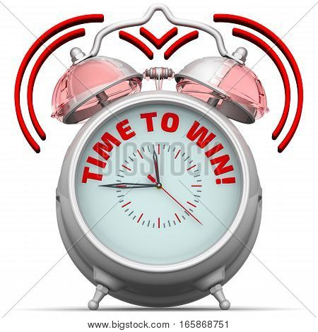 Time to win! The alarm clock with an inscription. Alarm clock with the red words