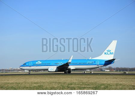 March 22nd 2015 Amsterdam Schiphol Airport PH-BXF KLM Royal Dutch Airlines Boeing 737-800 take off from Polderbaan Runway