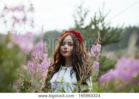 Beautiful young girl in a field on the background colors.