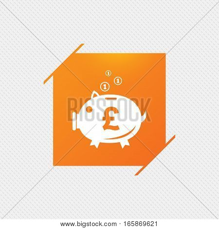 Piggy bank sign icon. Moneybox pound symbol. Orange square label on pattern. Vector