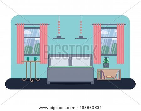 Flat style vector illustration of a bedroom interior.
