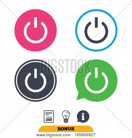 Power sign icon. Switch on symbol. Turn on energy. Report document, information sign and light bulb icons. Vector