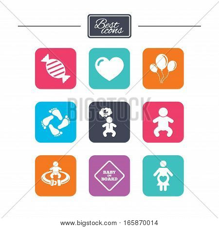 Pregnancy, maternity and baby care icons. Candy, strollers and fasten seat belt signs. Footprint, love and balloon symbols. Colorful flat square buttons with icons. Vector