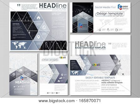 Social media posts set. Business templates. Easy editable abstract flat design template, vector layouts in popular formats. Abstract infographic background in minimalist style made from lines, symbols, charts, diagrams and other elements.