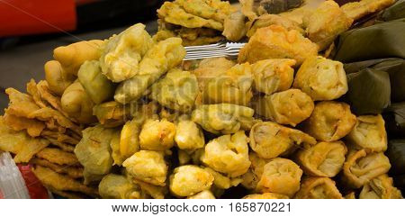 Gorengan or deep fried snack as one of favourite snack and very popular in Indonesia java