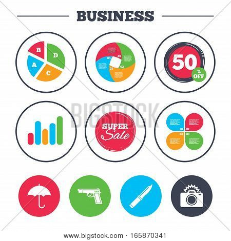 Business pie chart. Growth graph. Gun weapon icon.Knife, umbrella and photo camera with flash signs. Edged hunting equipment. Prohibition objects. Super sale and discount buttons. Vector