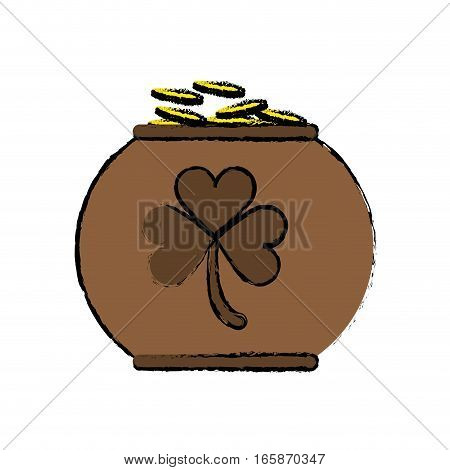 cartoon pot full coins shamrock decoration celebration st patrick day vector illustration eps 10