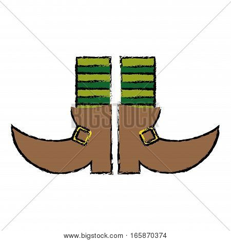 cartoon boot leprachaun stripes socks st patrick day vector illustration eps 10