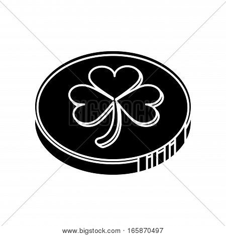 silhouette st patrick day coin sign vector illustration eps 10
