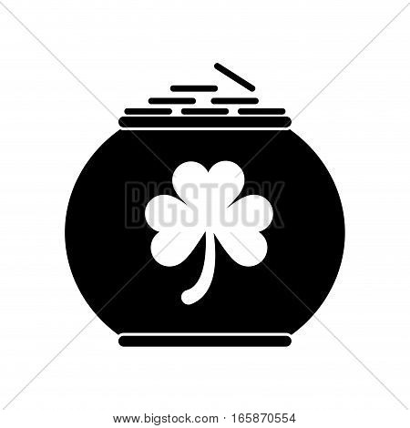 silhouette pot full coins shamrock decoration celebration st patrick day vector illustration eps 10